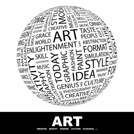 ART. Globe with different association terms. Wordcloud vector illustration.   Stock Vector - 9130499