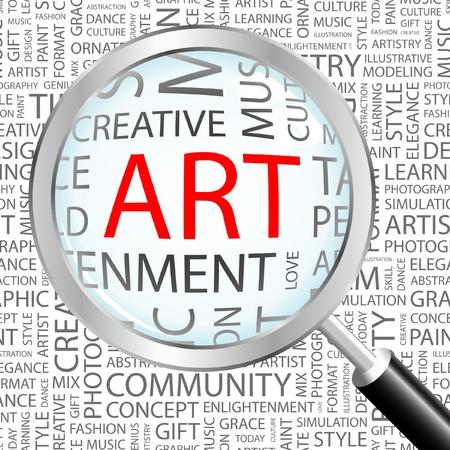 asociacion: ARTE. Lupa sobre fondo con términos de asociación diferente. Ilustración vectorial.