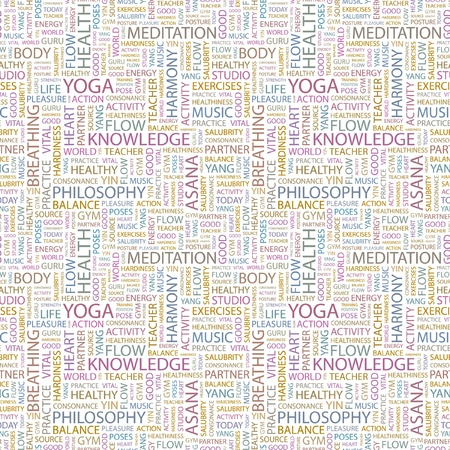 YOGA. Seamless vector pattern with word cloud. Illustration with different association terms. Stock Vector - 9194564