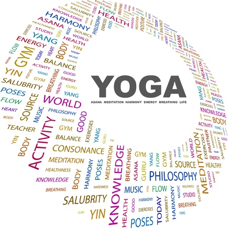 YOGA. Word collage on white background. Vector illustration. Illustration with different association terms.    Vector