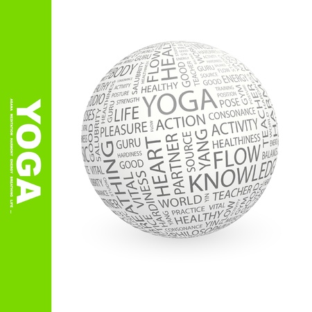 keywords backdrop: YOGA. Globe with different association terms. Wordcloud vector illustration.   Illustration