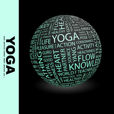 YOGA. Globe with different association terms. Wordcloud vector illustration. Stock Vector - 9027152