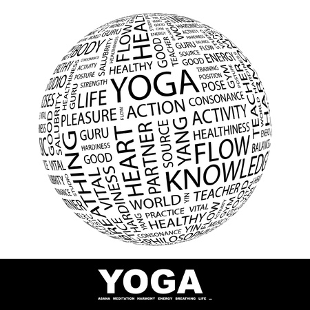 YOGA. Globe with different association terms. Wordcloud vector illustration. Stock Vector - 9194555