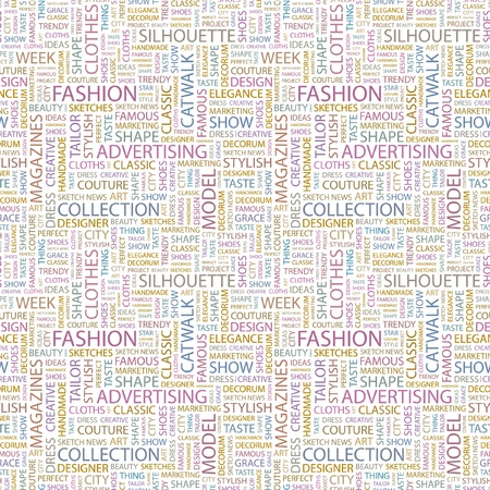 FASHION. Seamless vector pattern with word cloud. Illustration with different association terms.   Vector