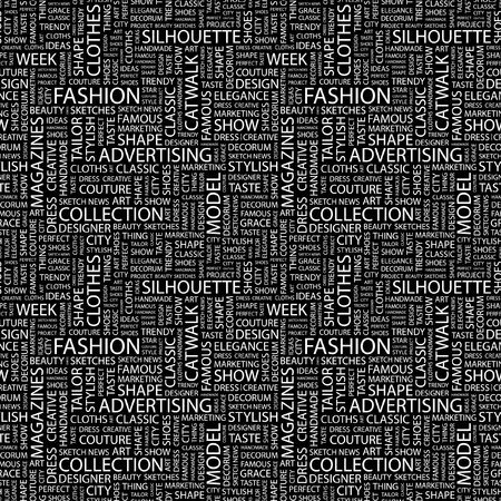 FASHION. Seamless vector pattern with word cloud. Illustration with different association terms. Stock Vector - 9027161