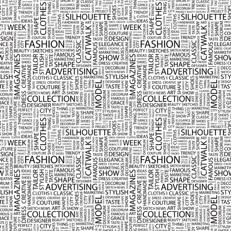 FASHION. Seamless vector background. Wordcloud illustration. Illustration with different association terms.   Vector