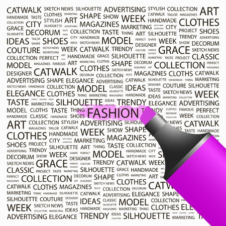 FASHION. Highlighter over background with different association terms. Vector illustration. Vector