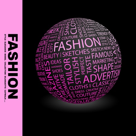 FASHION. Globe with different association terms. Wordcloud vector illustration.   Vector