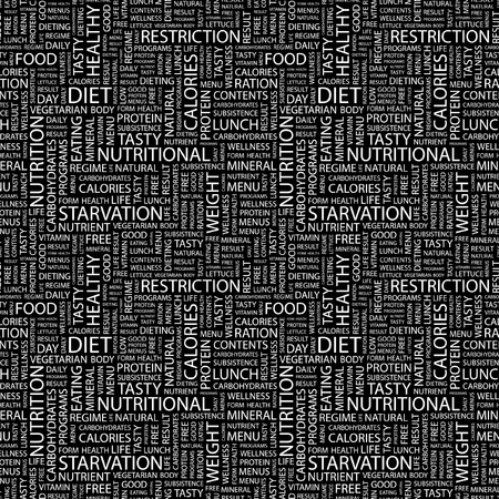 DIET. Seamless vector pattern with word cloud. Illustration with different association terms.   Vector