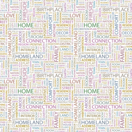 HOME. Seamless vector pattern with word cloud. Illustration with different association terms. Stock Vector - 9194563