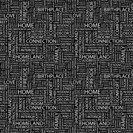 web designing: HOME. Seamless vector pattern with word cloud. Illustration with different association terms.
