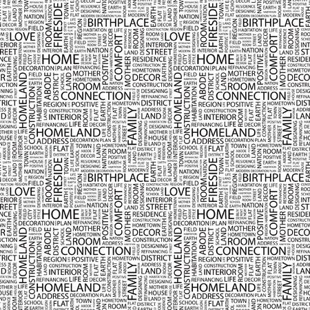 HOME. Seamless vector pattern with word cloud. Illustration with different association terms.   Vector