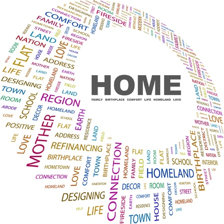 HOME. Word collage on white background. Vector illustration. Illustration with different association terms.    Stock Vector - 9026907