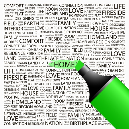 HOME. Highlighter over background with different association terms. Vector illustration.   Vector