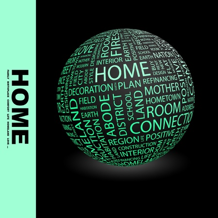 HOME. Globe with different association terms. Wordcloud vector illustration.   Vector