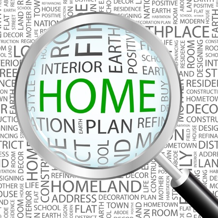 HOME. Magnifying glass over background with different association terms. Vector illustration.