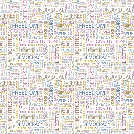 FREEDOM. Seamless vector pattern with word cloud. Illustration with different association terms.   Vector