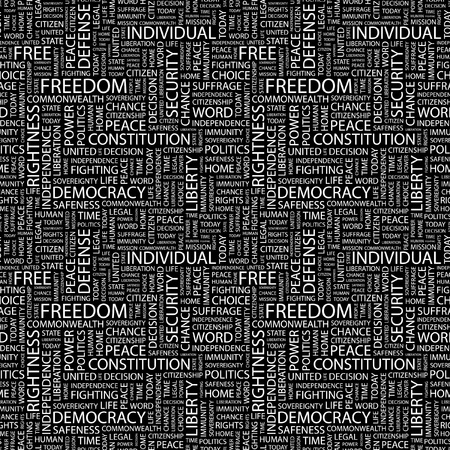 FREEDOM. Seamless vector pattern with word cloud. Illustration with different association terms.   Stock Vector - 9130501