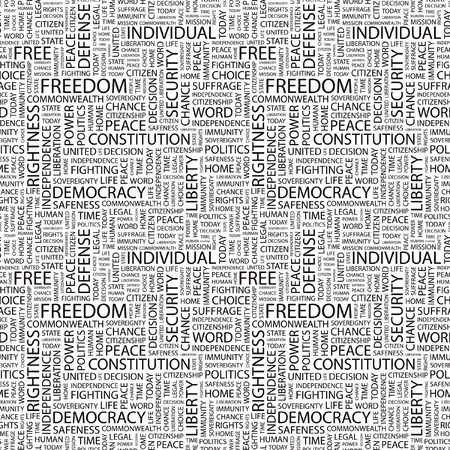 rightness: FREEDOM. Seamless vector background. Wordcloud illustration. Illustration with different association terms.   Illustration