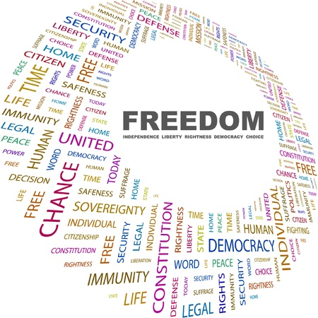 assent: FREEDOM. Word collage on white background. Vector illustration. Illustration with different association terms.