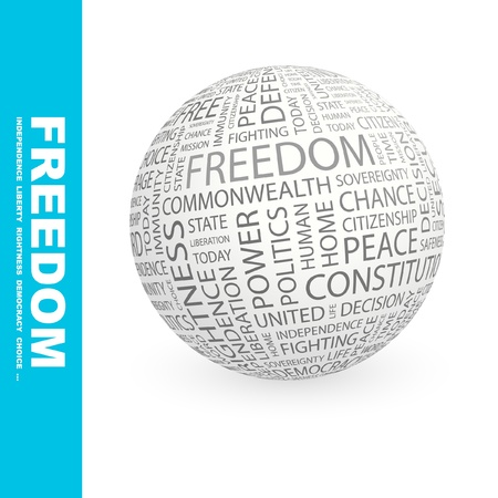 FREEDOM. Globe with different association terms. Wordcloud vector illustration.   Vector