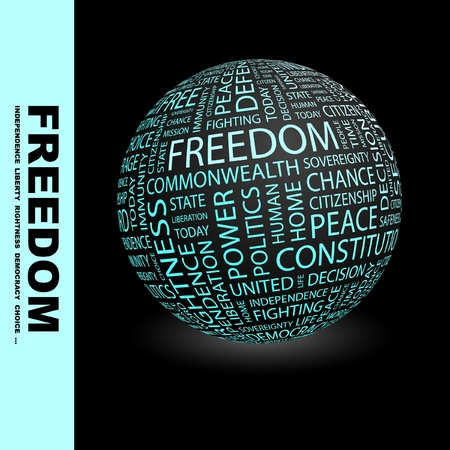 FREEDOM. Globe with different association terms. Wordcloud vector illustration. Stock Vector - 8840387