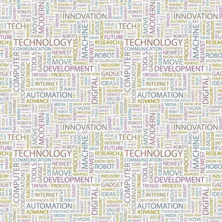 technology trends: TECHNOLOGY. Seamless vector background. Wordcloud illustration. Illustration with different association terms.