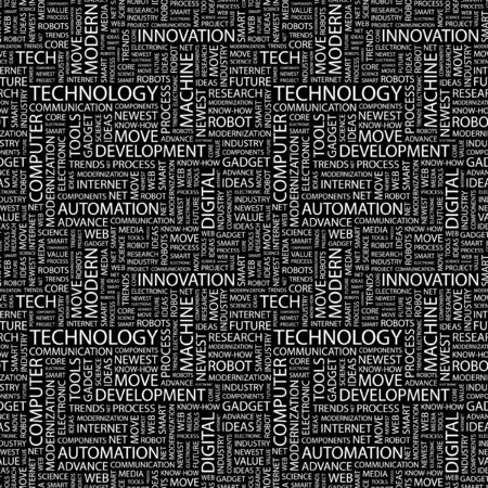 TECHNOLOGY. Seamless vector pattern with word cloud. Illustration with different association terms.   Vector