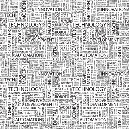 TECHNOLOGY. Seamless vector background. Wordcloud illustration. Illustration with different association terms.   Vector