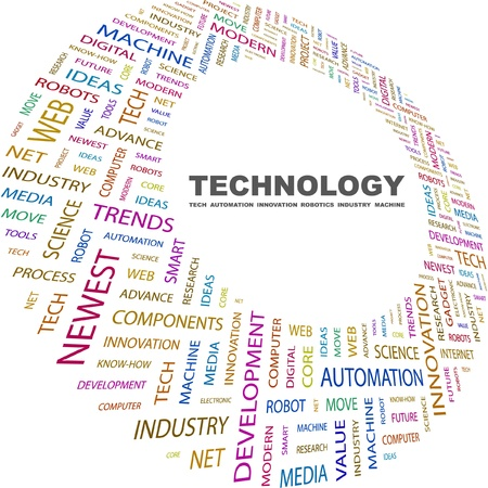 newest: TECHNOLOGY. Word collage on white background. Vector illustration. Illustration with different association terms.