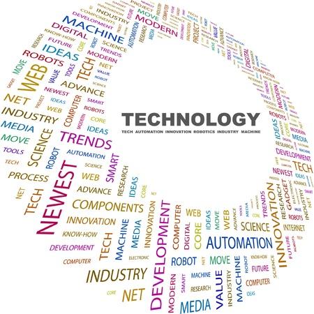 display type: TECNOLOG�A. Collage de palabra sobre fondo blanco. Ilustraci�n vectorial. Ilustraci�n con t�rminos de asociaci�n diferente.