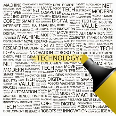 TECHNOLOGIE. Markeerstift op achtergrond met verschillende vereniging voorwaarden. Vectorillustratie.