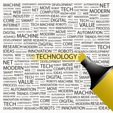 TECNOLOGIA. Evidenziatore sopra sfondo con termini differenti associazione. Illustrazione vettoriale.