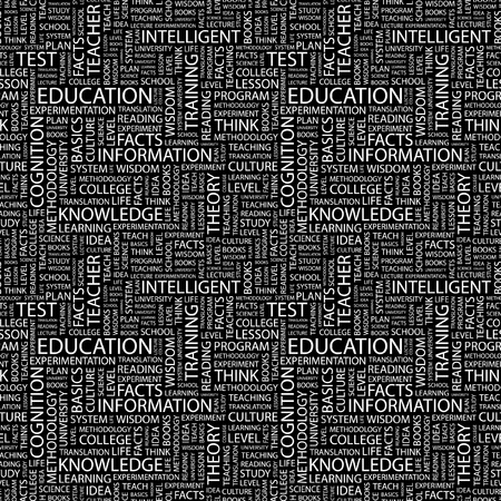 extramural: EDUCATION. Seamless vector background. Wordcloud illustration. Illustration with different association terms.