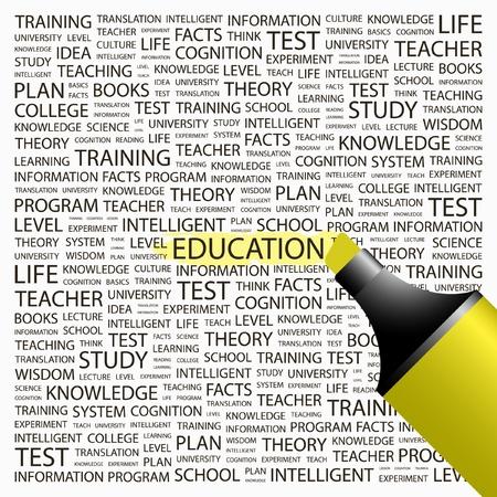 educativo: EDUCACIÓN. Marcador de resaltado sobre fondo con términos de asociación diferente. Ilustración vectorial.