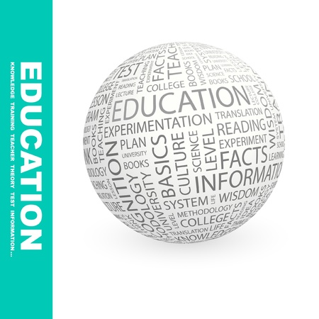 erudition: EDUCATION. Globe with different association terms. Wordcloud vector illustration.