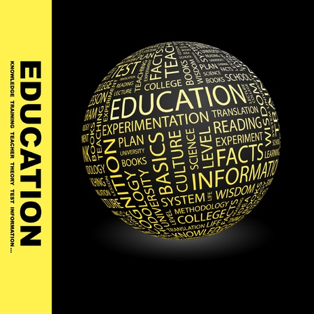 EDUCATION. Globe with different association terms. Wordcloud vector illustration.   Vector