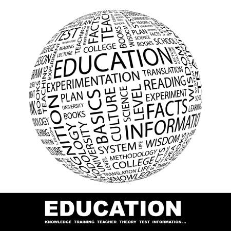 artikelen: ONDERWIJS. Wereldbol met verschillende vereniging voorwaarden. Wordcloud vectorillustratie.   Stock Illustratie