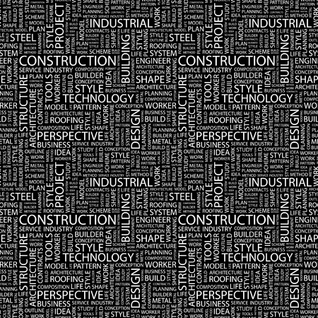 CONSTRUCTION. Seamless vector pattern with word cloud. Illustration with different association terms.   Vector