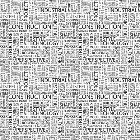 CONSTRUCTION. Arrière-plan vectorielle continue. Illustration de Wordcloud. Illustration avec termes différents association.