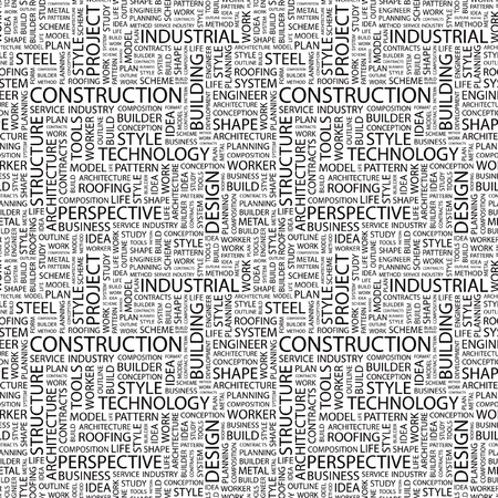CONSTRUCTION. Seamless vector background. Wordcloud illustration. Illustration with different association terms.   Vector