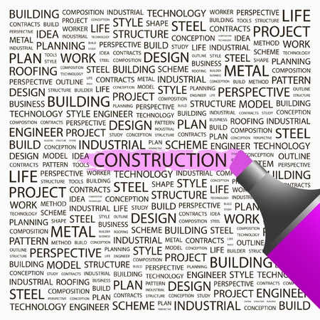 CONSTRUCTION. Highlighter over background with different association terms. Vector illustration.   Vector