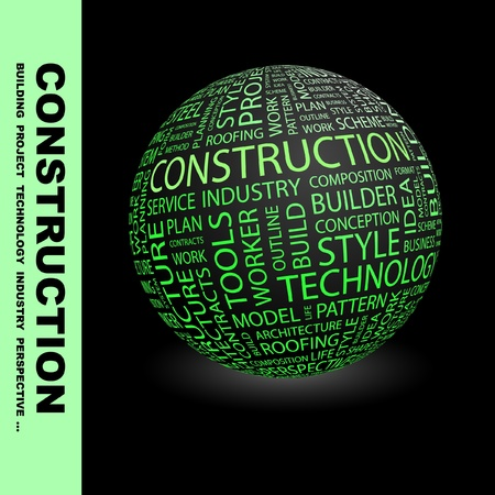 CONSTRUCTION. Globe with different association terms. Wordcloud vector illustration.   Vector
