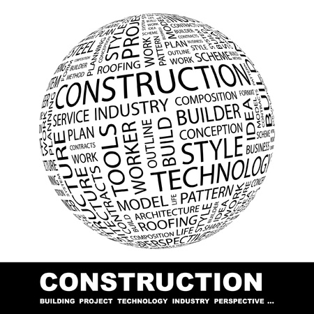 CONSTRUCTION. Globe avec termes différents association. Wordcloud, illustration vectorielle.   Vecteurs