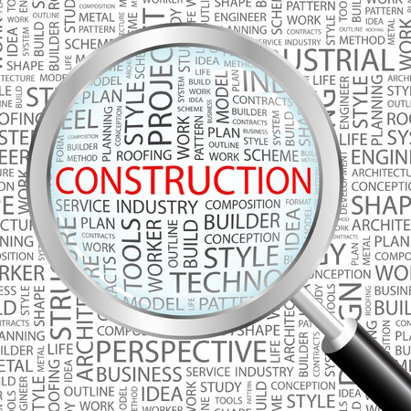 CONSTRUCTION. Magnifying glass over background with different association terms. Vector illustration. Stock Vector - 8840297