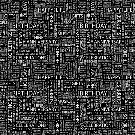 BIRTHDAY. Seamless vector pattern with word cloud. Illustration with different association terms.   Vector