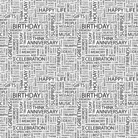 wingding: BIRTHDAY. Seamless vector background. Wordcloud illustration. Illustration with different association terms.