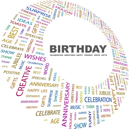 BIRTHDAY. Word collage on white background. Vector illustration. Illustration with different association terms. Stock Vector - 9130654