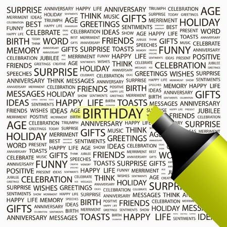 wingding: BIRTHDAY. Highlighter over background with different association terms. Vector illustration.