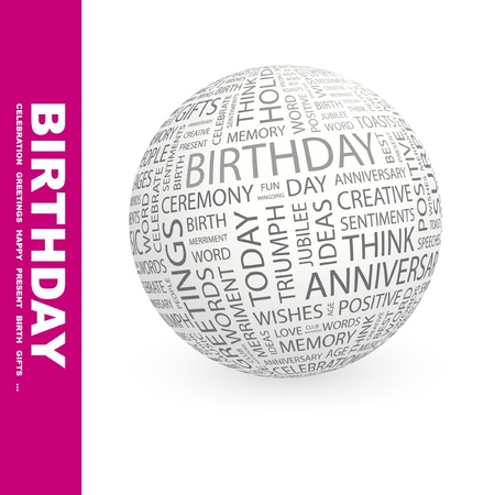 BIRTHDAY. Globe with different association terms. Wordcloud vector illustration.   Illustration